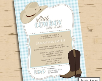 Little Cowboy Baby Shower Invitation Printable Editable Blue and Brown INSTANT DOWNLOAD Diy You Edit PDF