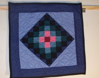 Small square SUNSHINE AND SHADOW wall hanging; All solid colors; lots of hand quilting