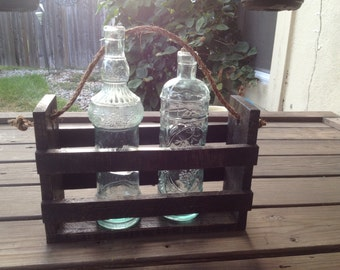 Handmade Rustic Bottle Carrier,Reclaimed Wood Wine Tote, Rustic Centerpiece, Country Decor, Outdoor Centerpiece,