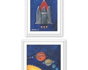Set of 2, Space Shuttle, Solar System, Acrylic on Canvas, Children's Art Prints