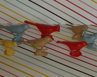 Vintage lot of 7 1960s Plastic Bird Toys (Some Melt Marks)