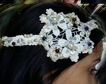Wedding, Pearl Bridal headband, Pearl and  bridal lace with off white sequins, dark blue beads and rhinestones .  All handsewn