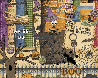 Spellbound Halloween - digital scrapbook kit with pumpkin, owl, spider, web, crow, black cat, googly eyes, and words for trick or treaters