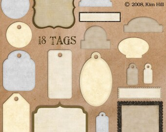 Digital Tags Clipart - round, square, bracket, oval, scalloped tags for embellishing digital scrapbook layouts and hybrid printable projects