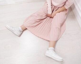 Vintage Pleated Pastel Pink Maxi Cotton Skirt