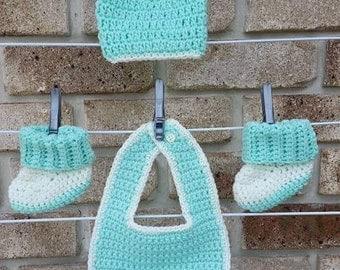 Handmade Crochet Baby Bib, Beanie and Booties Set