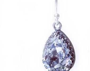 Crystal Teardrop Earrings Silver Drop Earrings Crystal Earrings Jewelry Dangle Pear Shaped Earrings Birthday Gift Dangle Sterling Silver