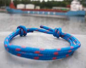 Cord bracelet, blue red 3 mm, sailors bracelet, surf jewellery, climbing rope knots bracelet, surfing sailing climbing
