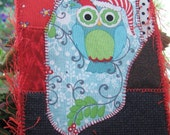 Fabric Postcard, Christmas Card, Owl Fiber Art, Quilt Postcard, Unique Gift Idea, Friend Gift
