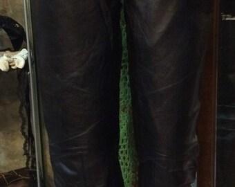1990's black biker leather hip pants. Size XS.