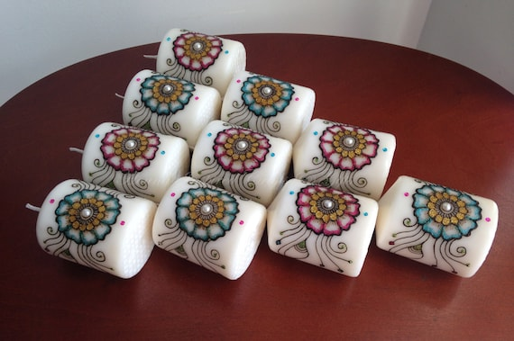 Hindu Wedding Gift: Set Of 10 Candles Indian Wedding Favors Hostess Gifts Thank