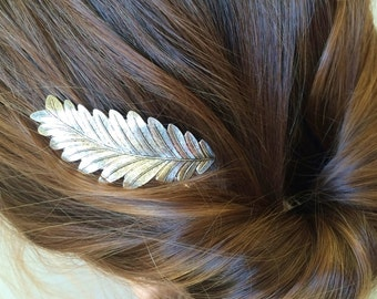 Silver leaf hair pin bridal hair pin silver leaf bobby pin leaf hair clip hair accessory silver woodland wedding hair pin fall hair