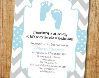 Blue and Gray Baby Boy Shower Invitation- Printable