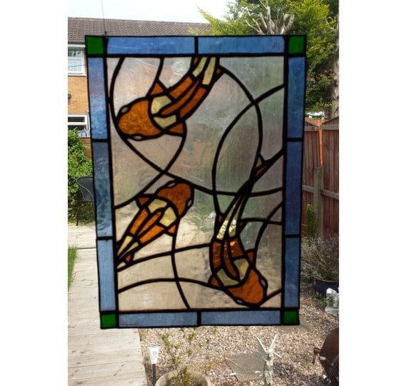three koi fish stained glass panel for wall window or