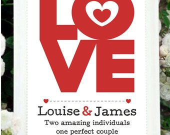 Love personalized printable downloadable print wedding, engagement, anniversary gift