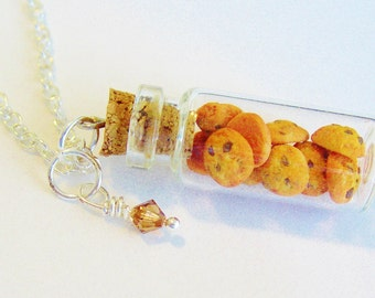 Chocolate Chip Cookies in a jar Necklace - Polymer Clay Food Cookie Jar - Miniature Food Jewelry Food Necklace