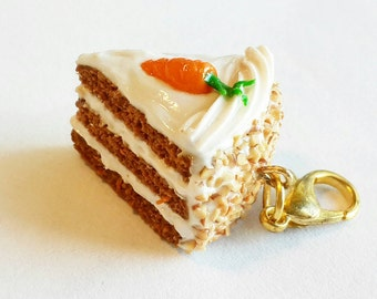 Carrot Cake Slice Charm or Earrings - Polymer Clay Food Carrot Cake Jewelry - Miniature Food Jewelry Carrot Cake Necklace - Cake Keychain