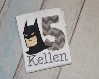 Batman Superhero Birthday Boys Applique Shirt Custom