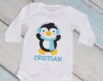 Penguin Winter Christmas Holiday Onesie Personalized