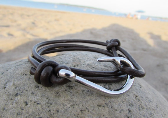 Mens leather bracelet leather fish hook by northhooksupplyco for Mens fish hook bracelet