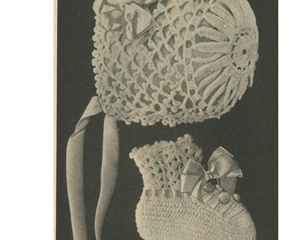 pdf 1920's Crocheted BABY CAP and Booties-Dated before 1929 - Hat Bonnet Crocheting Vintage Pattern Large Print