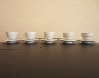 Set of 5 Blue and White Japanese Porcelain Small Sake Cups and Saucers from 1980s