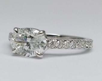 2.06 Carat Total Weight Oval Diamond Horizontal Engagement Ring Pave Gallery and band