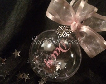 Personalised Papercut Name Christmas Tree Decoration Bauble Feathers Snowflake Stars Floating