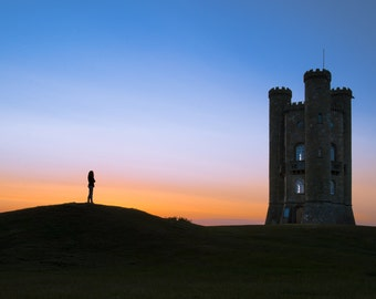 Landscape Fine Art Photo:  View at Dusk, Cotswolds, Broadway, England, Countryside, Landscape, Castle. Game of Thrones