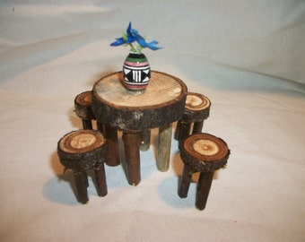 Fairy Garden Table with 4 Stools