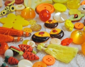 Sunshine Yellow Buttons and Tassels Lot #10: