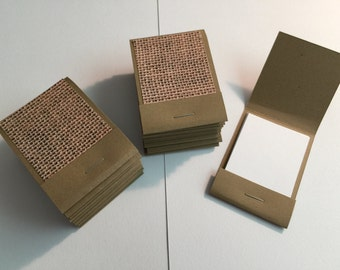 20 Matchbook Notepads Matchbook Favors - Burlap, Handmade
