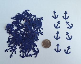 100 Anchor Confetti Die Cuts - Navy Blue - Nautical