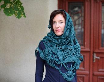 Shawl - Poncho - Scarf - Muffler - Emerald Scarf - The semi-circular scarf
