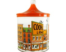Vintage Orange Cookie Tin Jar 70's Typography Print Peaked Lid Mid Century Storage