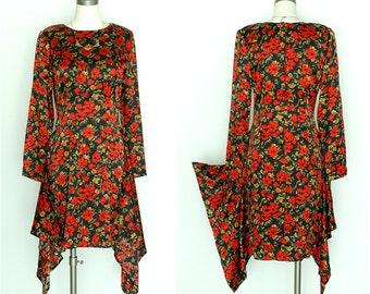 Vintage Mary Jo Bruno Floral Silk Dress / 100% Silk