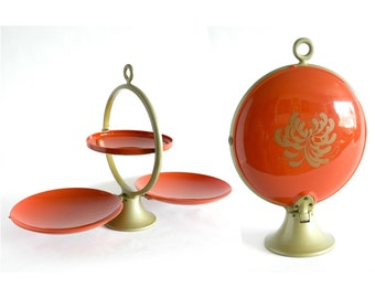 Vintage 1950's Orange and Gold Triple Level Server with Gold Flower Graphic