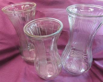 Hoosier Glass, Set of three (3) Vases