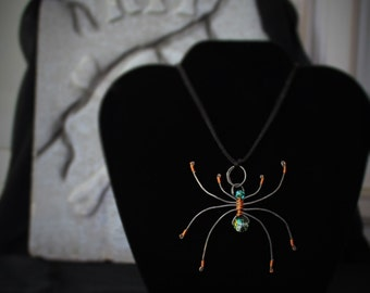 Goth Spider Necklace Handmade Wire Wrapped