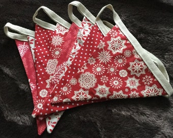 Christmas bunting Scandi fabric in red and cream, Christmas garland