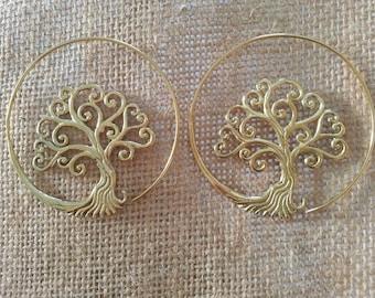Pair of earrings Tree of life brass