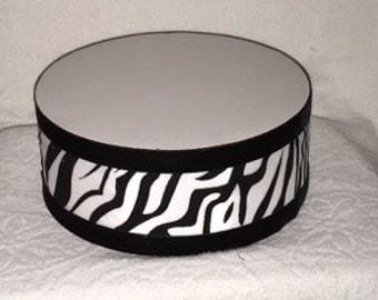 "ZEBRA PRINT CAKE Stand Round 4""x 14"" Featuring Velvet Trim Sizes 8"", 10"", 12"", 14"", 16"", 18"", 20"""