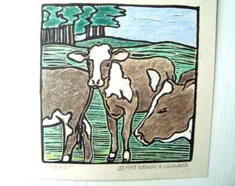 COWS Print - 4.5x4.5. Linoleum Prints Wall Art Hand Colored Hand Printed Linocut Cow Print Block Prints Handmade Gifts Farm Theme