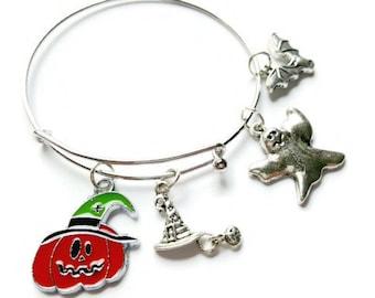 Halloween charm bracelet - Halloween bracelet - Pumpkin charm bracelet - Halloween jewelry - Pumpkin jewelry - Halloween bangle