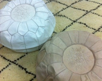 SET of 2 Morccan Poufs,moroccan pouffes,Leather Handmade Moroccan Pouf, Ottoman Cover,Hassock,Pouffe