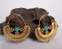 A Brass Hoop Earring /  Tribal Hoop Earring / Turquoise Stone Hoop Earring / Handmade Hoop Earring / Brass Hoop Earring / One Pair.