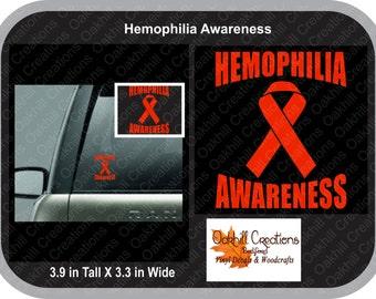 Hemophilia Awareness Ribbon Decal Sticker Window Decal
