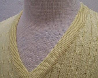 ON SALE Hathaway yellow cotton cable knit men's vest Italy L