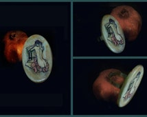 Naked Woman Art, Gorean Slave, Adjustable Ring Clay and Metal Armenian Handmade
