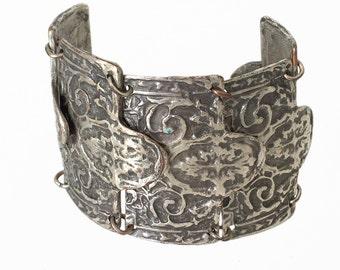 1970s Vintage Kazakh Silver Plated Cuff Bracelet